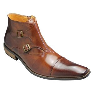バンプ アンド グラインド/ダブルモンクブーツ(バッファローカーフ)/BG2804(キャメル)/ロングノーズ/脚長/メンズ 靴|essendo