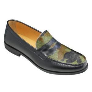 essendo selection(エセンドセレクション)/EX011(カモフラージュ)/牛革×ハラココンビの個性的なローファー/メンズ 靴|essendo