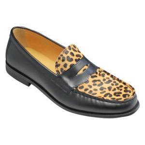 essendo selection(エセンドセレクション)/EX011(レオパード)/牛革×ハラココンビの個性的なローファー/メンズ 靴|essendo