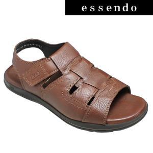 サンダルフレキシー/メキシコ製の牛革のスポーツサンダル(バックベルト)・fx98703(ブラウン)/flexi メンズ 靴|essendo
