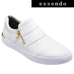 ローカットスニーカージェイド/Wジッパーが特徴的なドレススニーカー・jd505(ホワイト)/メンズ 靴 essendo