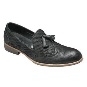 エセンドセレクション/ドレスカジュアルシューズ タッセル/R-41102 ブラックスネーク/パイソン型押し/メンズ 靴|essendo