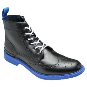 REGAL(リーガル)/レインブーツ(ウイングチップ・レースアップ)/71HR(ブラック/ブルー)/トリッカーズモデル/メンズ 靴|essendo