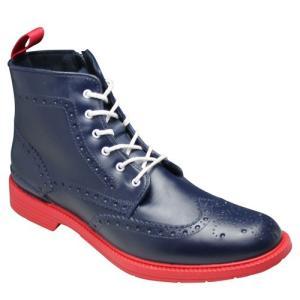 REGAL(リーガル)/レインブーツ(ウイングチップ・レースアップ)/71HR(ネイビー/レッド)/トリッカーズモデル/メンズ 靴|essendo