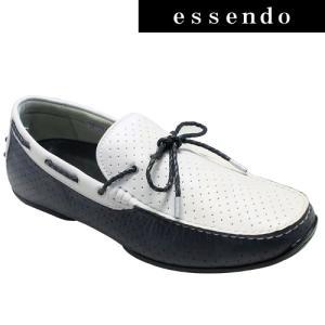 ドライビングシューズリーガル/タウンユースの牛革ドライビングシューズ(リボン)・954RAFH(ホワイトネイビー)/REGAL メンズ 靴 essendo
