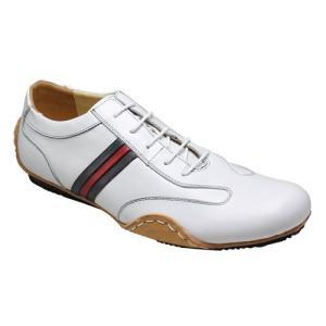 エセンドセレクション/レザースニーカー レース スムース/TGS0410 ホワイトネイビー/ロングノーズ/メンズ 靴|essendo