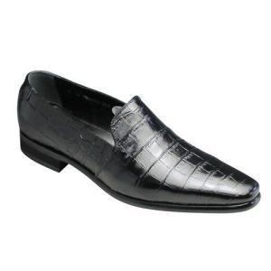 トラサルディ/ビジネスシューズ スリッポン/TR10263 ブラック/ロングノーズ クロコ型押し/メンズ 靴|essendo