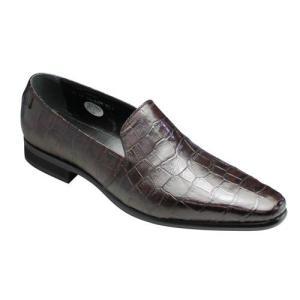 トラサルディ/ビジネスシューズ スリッポン/TR10263 ワイン/ロングノーズ クロコ型押し/メンズ 靴|essendo