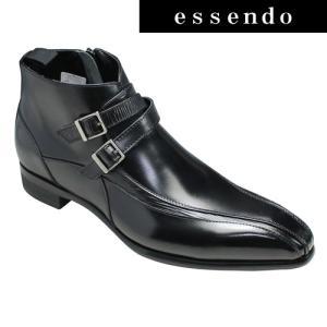 ビジネスシューズ トラサルディ ショートブーツ ダブルベルト TR10289 ブラック TRUSSARDI メンズ 靴|essendo