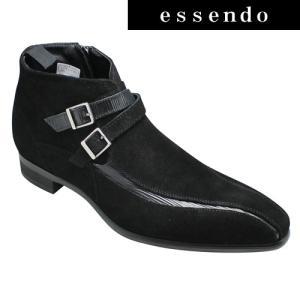 ビジネスシューズ トラサルディ ショートブーツ ダブルベルト TR10289 ブラックコンビ TRUSSARDI メンズ 靴|essendo