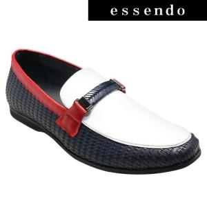 ローファートラサルディ/ドレスカジュアルスリッポン(ビットローファー)・TR17012(ネイビーコンビ)/TRUSSARDI メンズ 靴|essendo