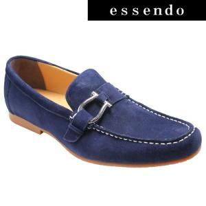 ローファーモデロヴィータ/ロングノーズの牛革スリッポン(ローファー)・VT5682(ネイビースエード)/MODELLO VITA メンズ 靴|essendo