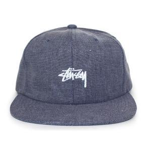 STUSSY (ステューシー) 131680-navy COATED LINEN STRAPBACK CAP [ストラップバックキャップ] NAVY 620-005879-017|essense