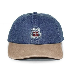 STUSSY (ステューシー) 131672-indigo DENIM SUEDE CREST CAP [6パネルキャップ] INDIGOxKHAKI 620-006005-017|essense