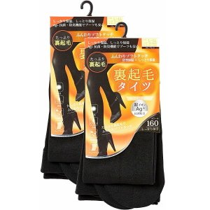 M&M Socks 2足組 160デニール 抗菌防臭裏起毛タイツブラック|esteem-direct