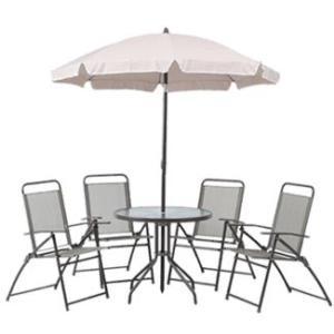 ガーデンテーブルセット カフェテーブルセット 北欧テイストガーデンテーブル&折りたたみチェアー6点セット パラソル付き |estoah