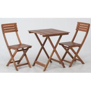 ガーデンテーブルセット カフェテーブルセット 折りたたみ木製テーブル&チェアー3点セット アカシア材使用 テーブル チェア(椅子)2脚 完成品|estoah