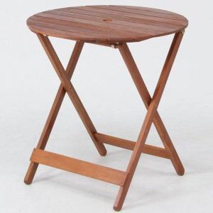 ガーデンテーブル 折りたたみテーブル カフェテーブル木製ラウンドテーブル丸天板直径685mm ガーデニングテーブル 完成品|estoah