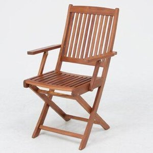 ガーデンチェア ベランダ椅子 折りたたみ椅子木製ガーデンチェアー(肘付き)幅540mm 2脚セット アカシア材 ガーデンファニチャー 完成品|estoah