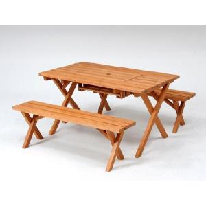 ガーデンテーブルセット カフェテーブルセット バーベキュー木製テーブル&ベンチ3点セット(コンロスペース付) 杉材使用 ガーデン家具|estoah
