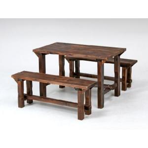 ガーデンテーブルセット カフェテーブルセット 木製テーブル&ベンチ3点セット(パラソル用穴付) 焼杉材使用 ガーデン家具 ガーデンファニチャー |estoah