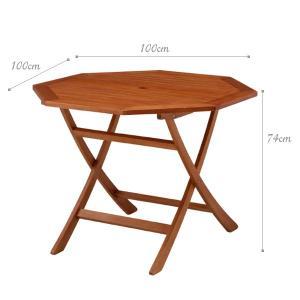 ガーデンテーブル 天然木 折りたたみ パラソル穴付 八角テーブル1台 estoah 03
