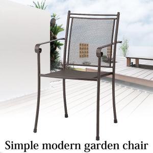 ガーデンチェアー シンプルモダン スチール製 スタッキング可能 メッシュチェアー2脚セット estoah