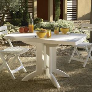 ガーデンテーブル 屋外用 テーブル フランス Grosfilex社製 ベガ テーブル118×77 ホワイト GRS-T05W 完成品、折りたたみ可 ガーデン家具 庭 テラス|estoah