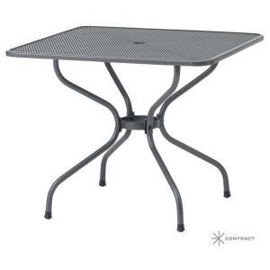 ガーデンテーブル パラソル立て可能 METAL WORK 高品位 シンプル スクエア スチールテーブル 90×90cm estoah 02