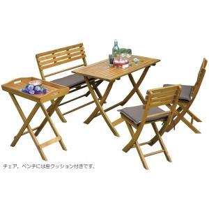 ガーデン テーブル セット 天然木製 折りたたみ テーブル1台&椅子2脚&ベンチ1脚&トレー セット|estoah