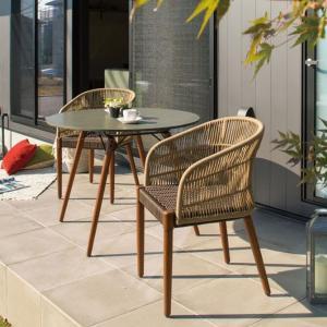 ガーデン テーブルセット 高級 木製 屋外 オーパス ラウンドテーブル & チェア 3点セット 組立式 ベランダ テラス 二人掛け おしゃれ 送料無料|estoah