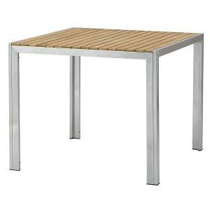 ガーデンテーブル 高級 木製 屋外 チーク ステンレス ライズ テーブル 幅89x奥行90x高73cm 組立式 天然木 ナテラス おしゃれ 送料無料 estoah