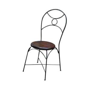 チェア アイアンチークチェア 1脚 完成品 チーク ロートアイアン モダン 椅子 室内向け 家具 インテリア|estoah