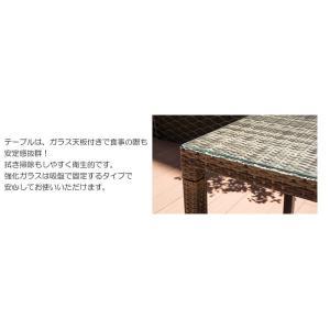 ガーデンテーブル 人工ラタン サハラ・ダイニング・6人掛け(ガラス天板付) テーブル W1455×D855×H720mm(パラソル穴径)Φ40cm 組立品 屋内 屋外 兼用家具|estoah|03