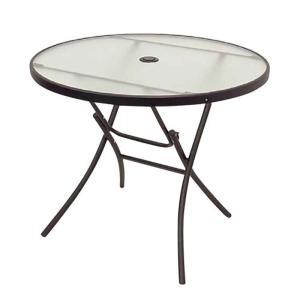 ガーデンテーブル スチール製 折りたたみ スカテーブル 丸テーブル 直径888×高さ710mm 幅888×奥行70×高さ1050mm(畳んだ状態) 完成品 パラソル穴付|estoah