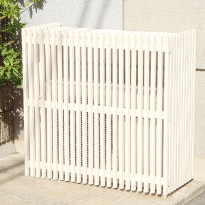 室外機カバー エアコン室外機カバー 木製ガーデン家具 モダン室外機カバー 935×900×425mm ホワイト|estoah