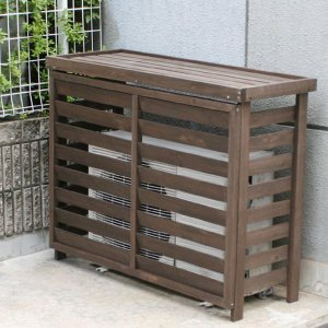 室外機カバー エアコン室外機カバー 木製ガーデン家具 ボーダー室外機カバージャンボ1105×880×425mm ダークブラウン|estoah