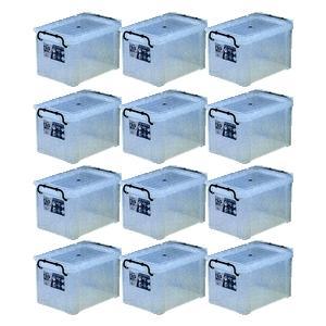 収納ボックス 収納ケース プラスチック製 タグボックス03 お買い得12個セット 透明(クリア) 収納箱で簡単整理 重ね置き可能|estoah
