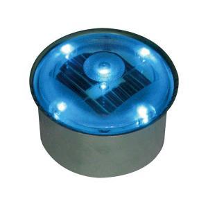 ソーラーライト LED 照明 埋込 駐車場 ライト 外灯 丸型 TI2-SB80RBL ブルー アプローチライト 誘導灯 照明器具 おしゃれ|estoah