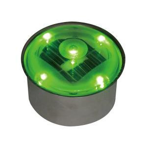 ソーラーライト LED 照明 埋込 駐車場 ライト 外灯 丸型 TI2-SB80RGR グリーン アプローチライト 誘導灯 照明器具 おしゃれ|estoah