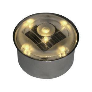 ソーラーライト LED 照明 埋込 駐車場 ライト 外灯 丸型 TI2-SB80RAM アンバー アプローチライト 誘導灯 照明器具 おしゃれ|estoah