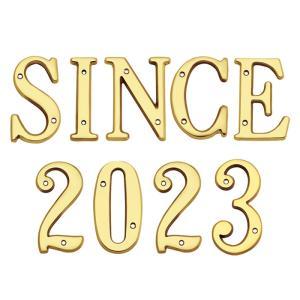 表札 真鍮 切 文字 戸建 表札 102シリーズ SINCE2018セット商品 シンプル サインプレート ネームプレート 店舗 看板 屋外 外構|estoah