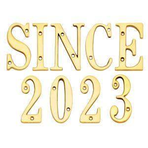 表札 真鍮 切 文字 戸建 表札 76シリーズ SINCE2019 セット 商品 シンプル サインプレート ネームプレート 店舗 看板 屋外 外構|estoah