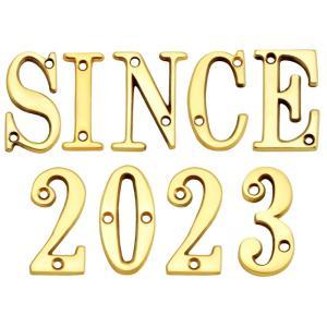 表札 真鍮 切 文字 戸建 表札 51シリーズ SINCE2018 セット 商品 シンプル サインプレート ネームプレート 店舗 看板 屋外 外構|estoah