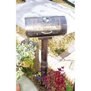 ポスト 郵便受け スタンドタイプ郵便ポスト デザインポスト シャイングラス銅製ポスト 丸型 スタンド  レトロ|estoah