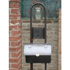 ポスト 郵便受け レトロ機能門柱 郵便ポスト デザインポスト 照明 インターホン ロートアイアン+銅製ポスト1型レトロ機能門柱 1|estoah