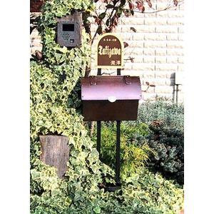 ポスト 郵便受け レトロ機能門柱 郵便ポスト デザインポス 表札 ロートアイアン+銅製ポスト1型レトロ機能門柱 2   スタンドタイプ|estoah