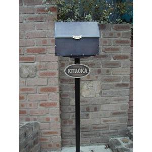ポスト 郵便受け 機能門柱 郵便ポスト デザインポスト 表札 ロートアイアン+銅製ポスト8型レトロ機能門柱 1   スタンドタイプ|estoah