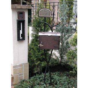 ポスト 郵便受け レトロ機能門柱 郵便ポスト デザインポスト 表札 ロートアイアン+銅製ポスト11型レトロ機能門柱 1   スタンドタイプ|estoah