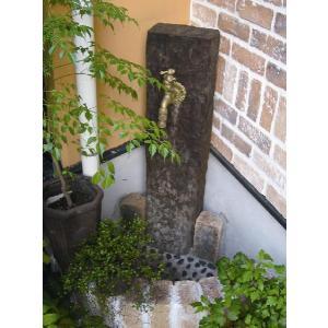 立水栓 水栓柱 ガーデニング 木製枕木立水栓(真鍮色蛇口付き) 水回り ガーデン水栓柱 DIY estoah
